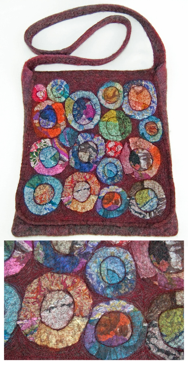 Kathie Barrs nuno felted bag with machine embroidery
